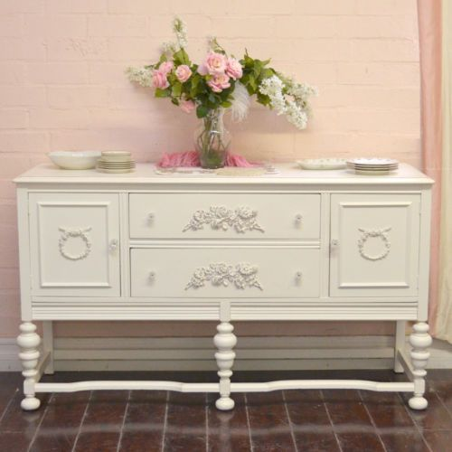 shabby cottage chic white vintage french style buffet. Black Bedroom Furniture Sets. Home Design Ideas