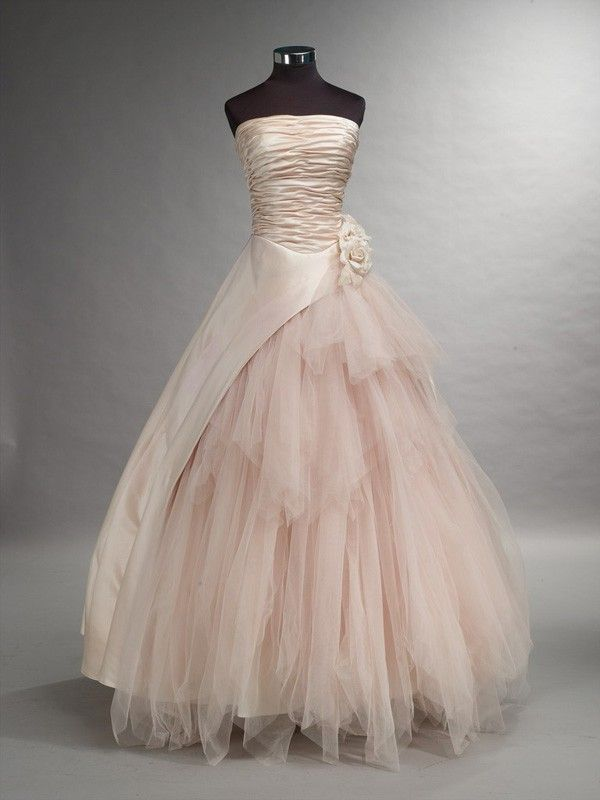 Blush Tulle Wedding Dress : Romantic blush pink wedding dress with tulle available in
