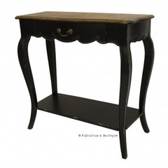 French Country Rustic Side Table - Black