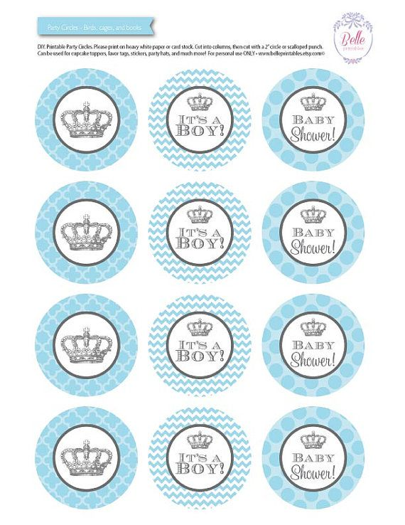 cupcake toppers baby shower crown theme diy printable baby blue