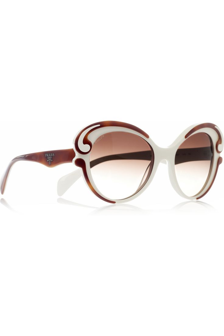 Prada White Frame Glasses : Butterfly-frame acetate sunglasses