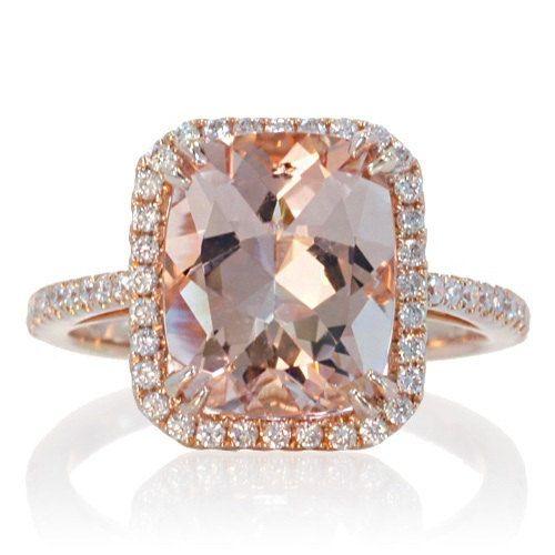 Halo Ring Rose Gold Morganite Cushion Halo Ring