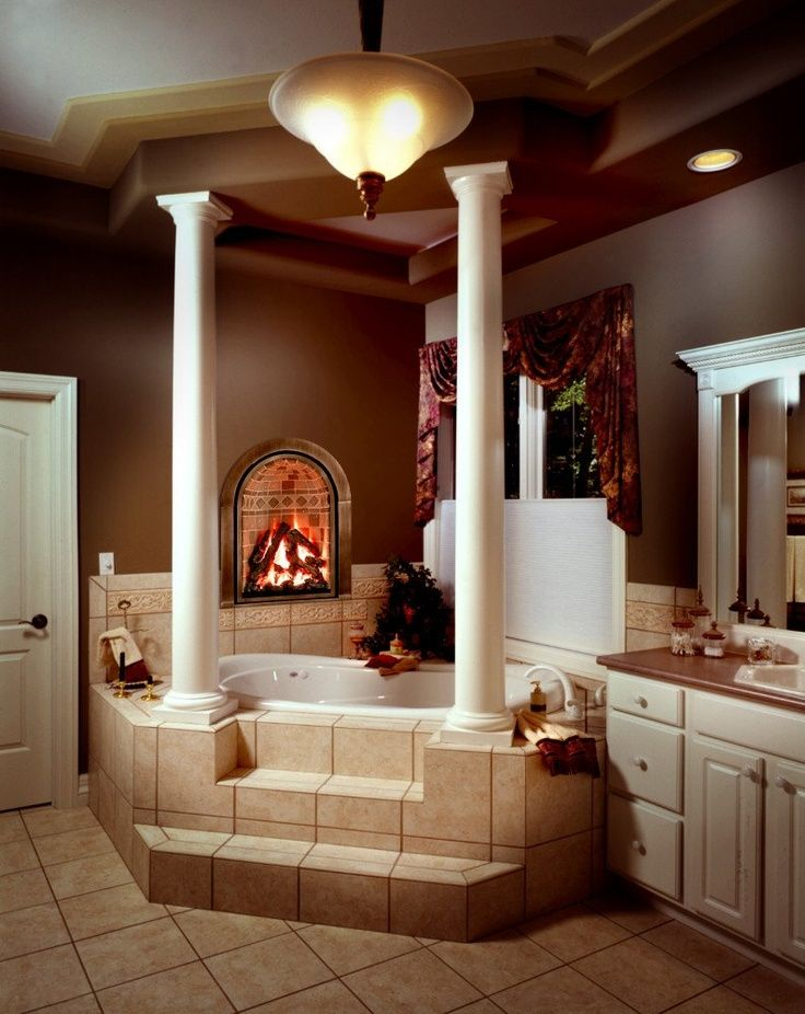 Gorgeous bathrooms with fireplace kitchens bathrooms for Bathrooms with fireplaces