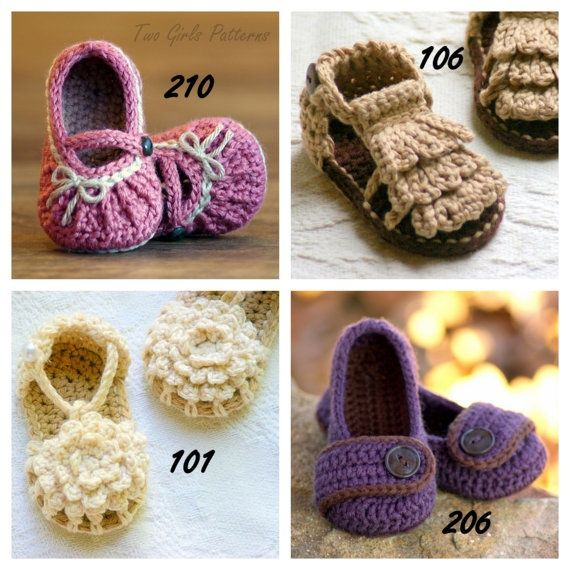Crochet Patterns For Baby Shoes And Sandals : Baby Sandal Crochet Patterns Babuchas Pinterest