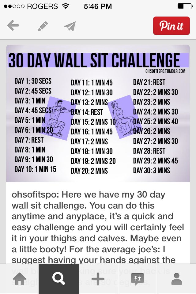 30 day wall sit challenge   Workout/Exercise   Pinterest