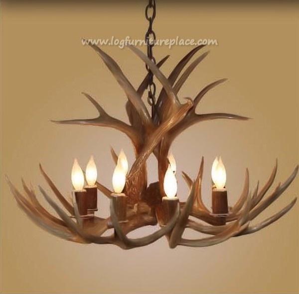 8 light large mule deer antler chandelier for Lampe geweih modern