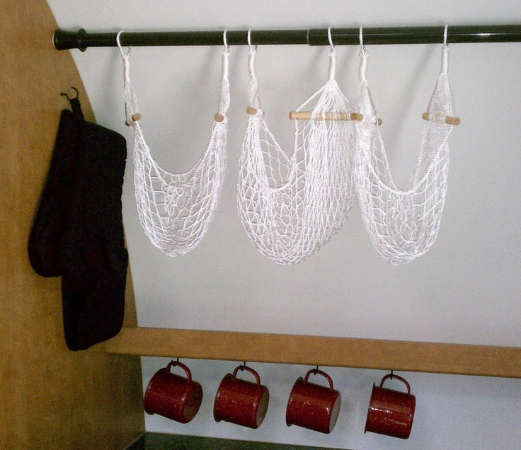 Hang food hammocks on an adjustable shower curtain rod in your camper ...