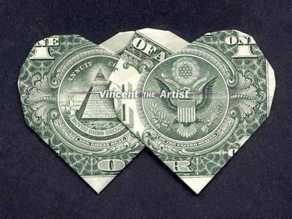 double hearts money origami dollar bill art