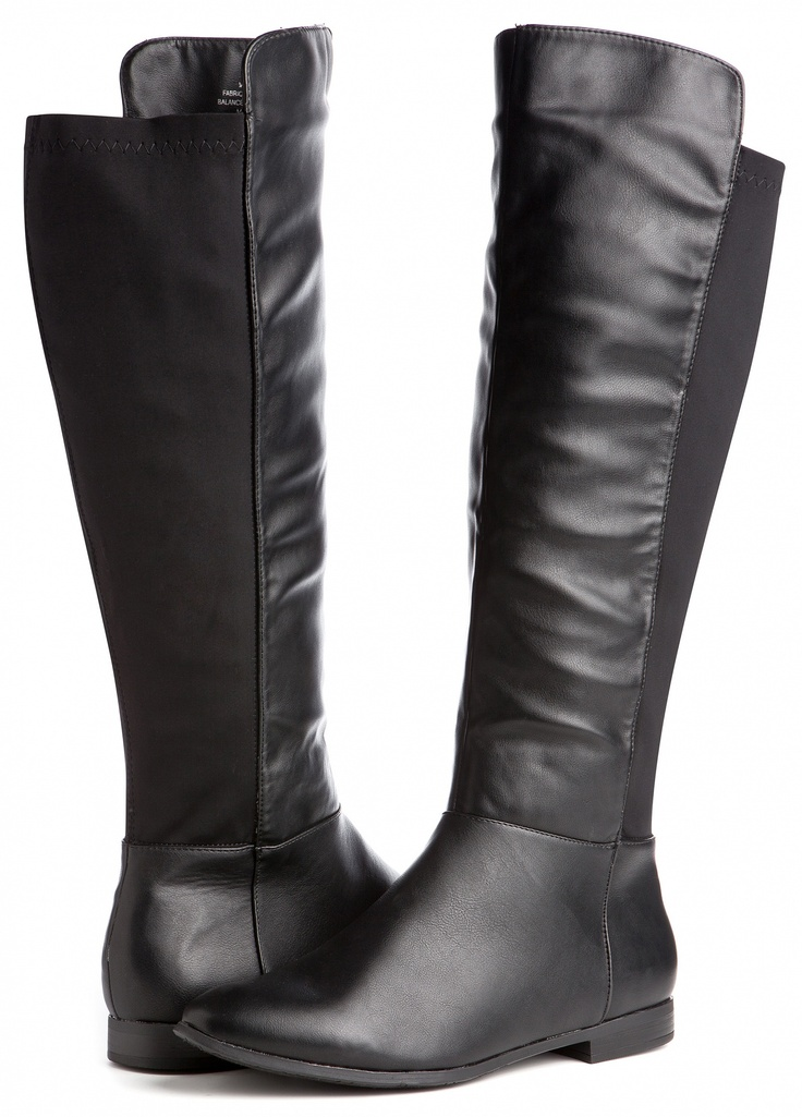 Ashley Stewart: Stretch Calf Riding Black Boot (Wide Width/Calf