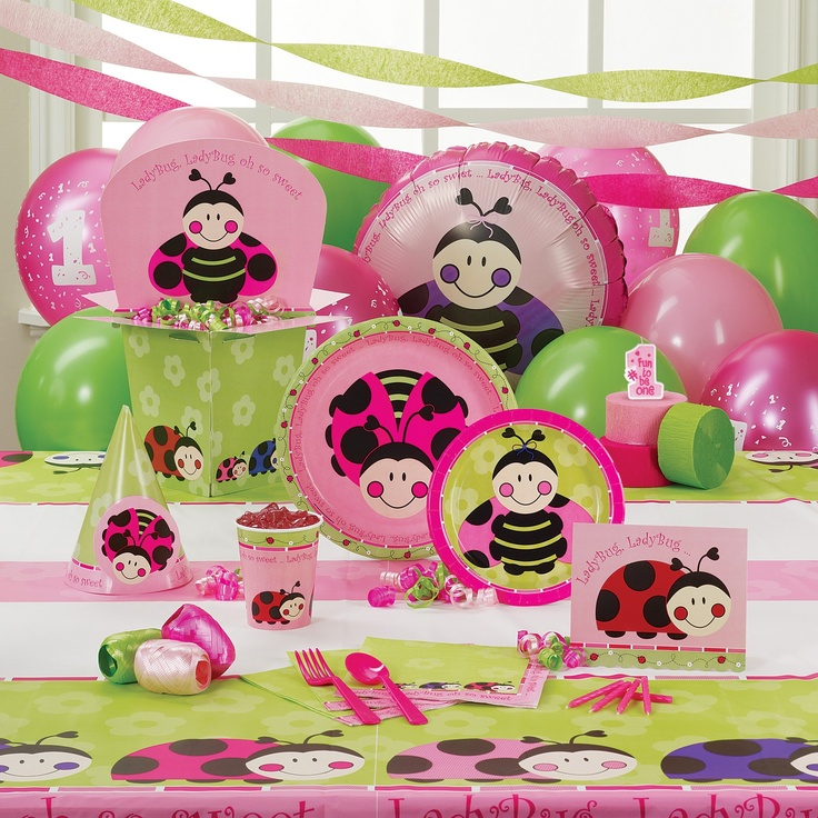 Ladybugs oh so sweet 1st birthday deluxe party pack for 8