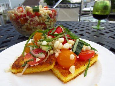 Polenta with corn and tomato salsa. | Yummy Treats | Pinterest