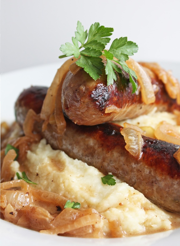 Bangers and Mash... Thinking of making this to eat for dinner while we ...