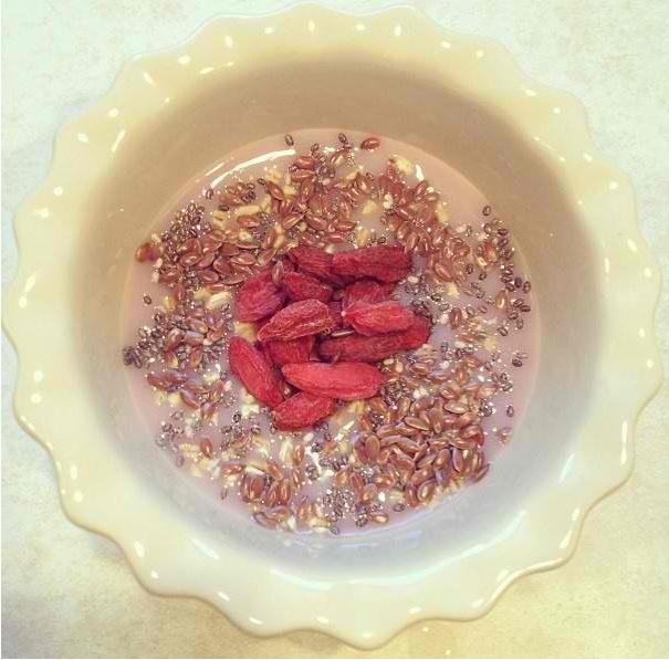 ... seeds, flaxseed, raw uncooked steel cut oats, goji berries. Via