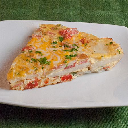Ham, Potato and Roasted Red Pepper Frittata...yumm...it just came out ...