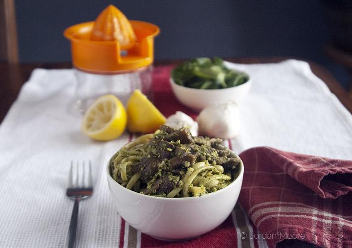 Pasta with Spinach & Almond Pesto [Jordan's Family of Foodies]