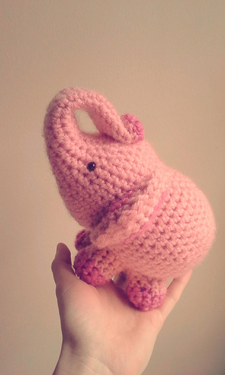 Crochet Elephant Doll : Elephant Crochet Stuffed Doll Toy Round Adorable Baby Pink