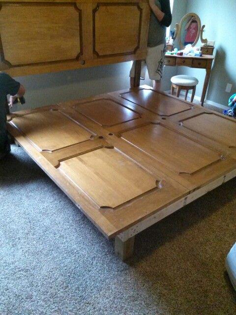 4 old doors diy king size bed frame furniture pinterest for Diy king bed frame ideas