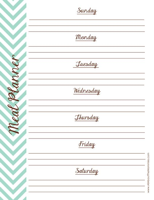 FREE Printable Meal Planner - All About the Mommies #freeprintables # ...