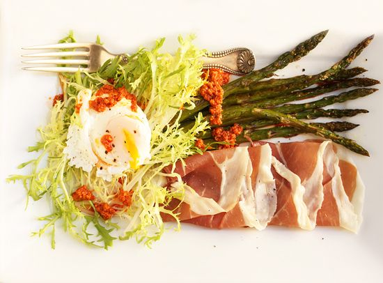 Poached Egg, Prosciutto, Roasted Asparagus & Frisée Salad with ...