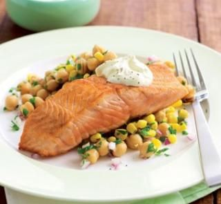 Pan fried salmon and chickpea salad | Delicious | Pinterest