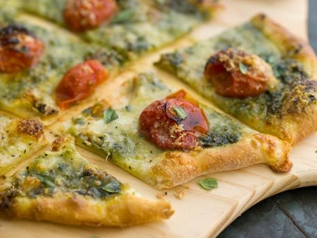 Homemade Pizza with Mozzarella, Cherry Tomatoes and Pesto | Recipe