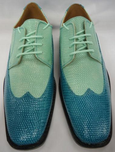 Mens Turquoise Aqua Teal & Mint Green Spectator Wingtip Dress Shoes