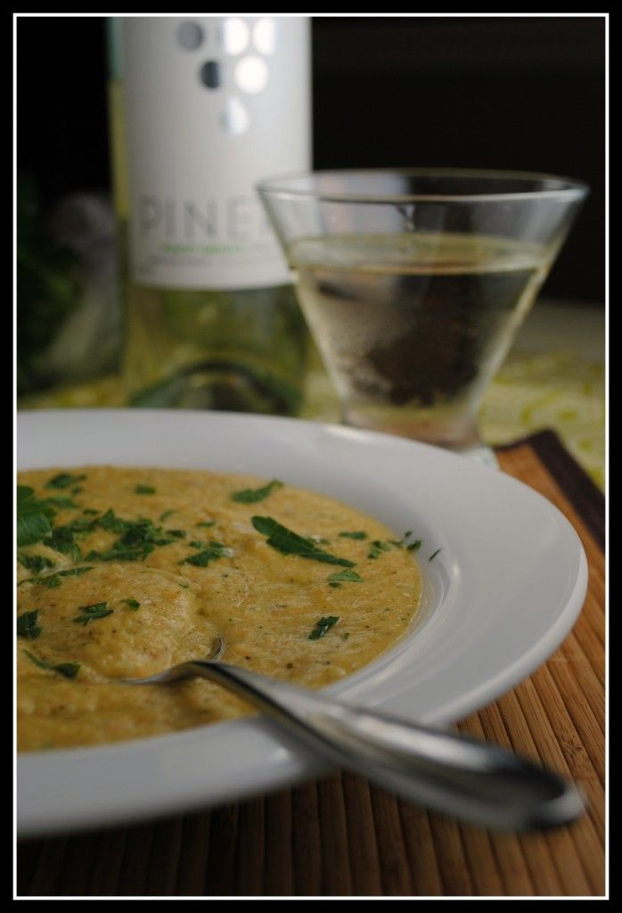 Creamy roasted cauliflower and broccoli soup (with white wine!) Yum!