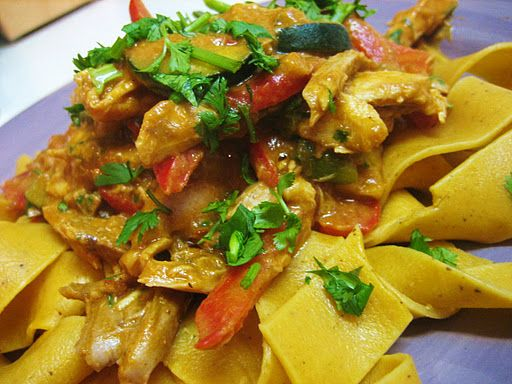 Spicy Peanut Sauce Sweet Potato Pasta-leave out the chicken. Use w ...