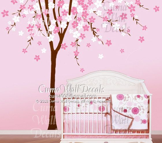 Cherry blossom wall decal tree wall decals flower vinyl for Cherry blossom tree wall mural