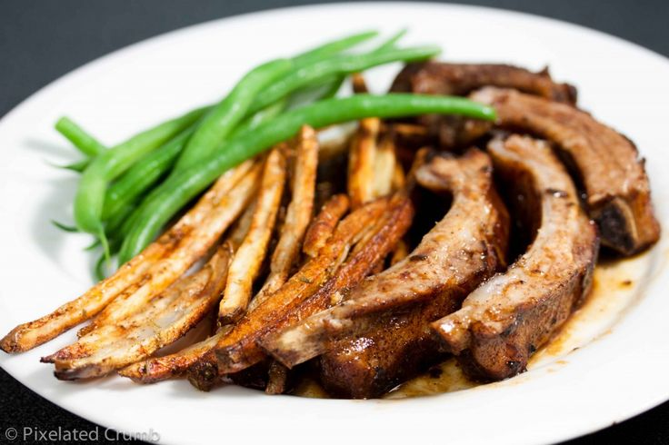 Simply Delicious Ribs with fresh green beans and oven baked fries