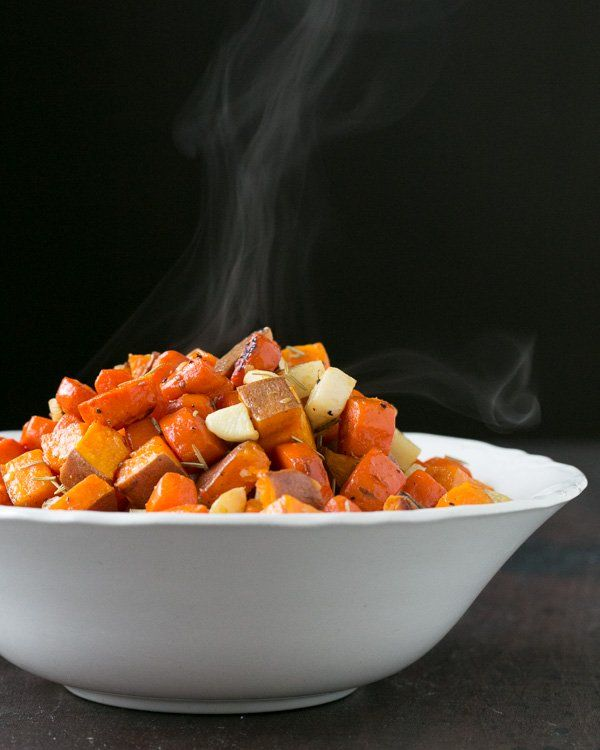 Roasted Root Vegetables -- includes sweet potatoes, carrots, turnips ...