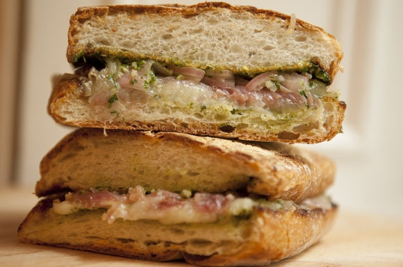 Prosciutto and Fontina Panini with Arugula Pesto | Recipe