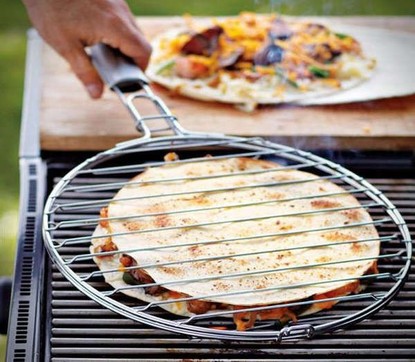 ladies pink coat Quesadilla Grill Basket
