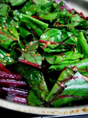 Beet Greens with Feta; I tossed w/some left over angel hair pasta ...
