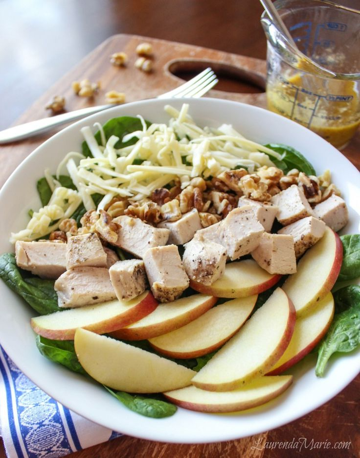 Apple, White Cheddar, and Chicken Salad with Honey Mustard Vinaigrette ...