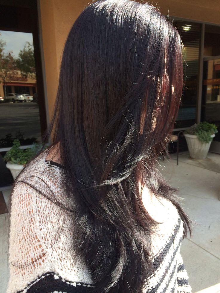 Dark violet brown hair -- long round layers #guymatthewsalonanddayspa ...