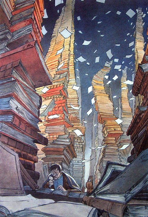 "Bibliothèque (The Library) by Francois Schuiten. Lithograph print on Paper, 27"" x 39"". One of a series of super large prints showcasing the drama and imagination of Schuiten's luxurious painting style and his skilful depiction of futuristic architectural designs. This evocative print looks fantastic when displayed in the home."
