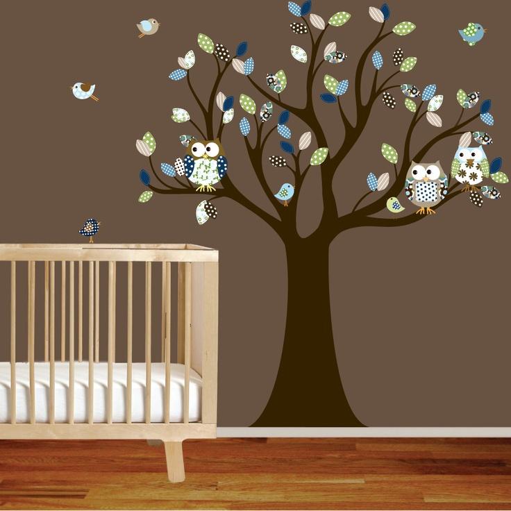 Vinyl Wall Decor Trees : Nursery tree decal with owls birds green blue pattern