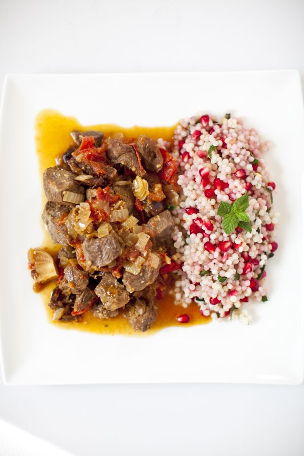 Lamb & Date Tagine with Pomegranate Couscous. Recipe here: http://www ...