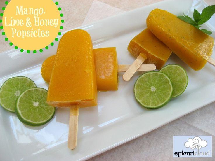... frozen fruit puree pops! The mint version tastes like a frozen mango