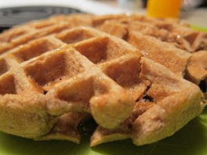 chocolate peanut butter waffles. yum yum yum whole wheat flour