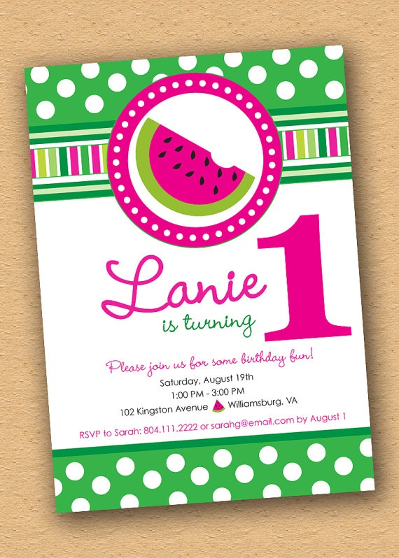 Watermelon Birthday Invitations is an amazing ideas you had to choose for invitation design
