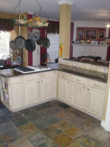 California gold slate floor flooring pinterest for Kitchen slate floor white cabinets