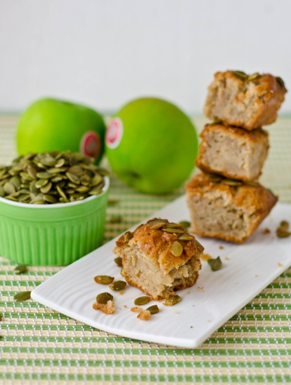 Moist Apple Cake topped with Pumpkin seeds