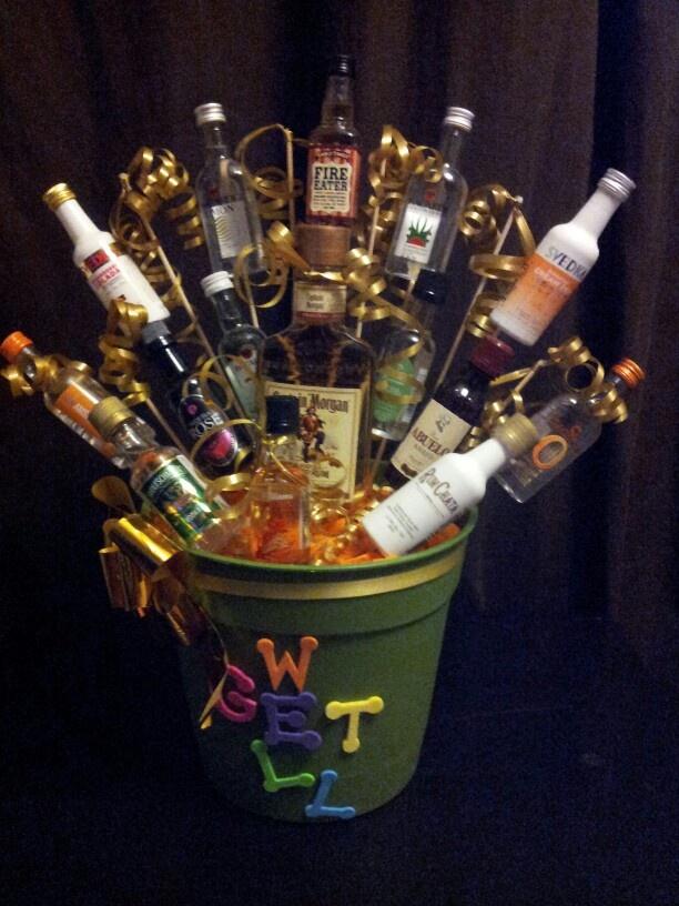 Liquor Basket Creative Baskets Pinterest