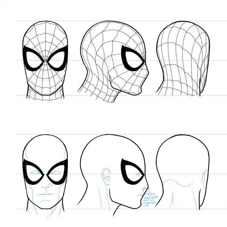 Spiderman face drawings