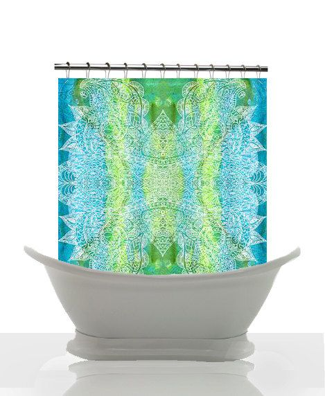 Artistic Shower Curtain Batik Green And Blue Watercolor Paisley Gre