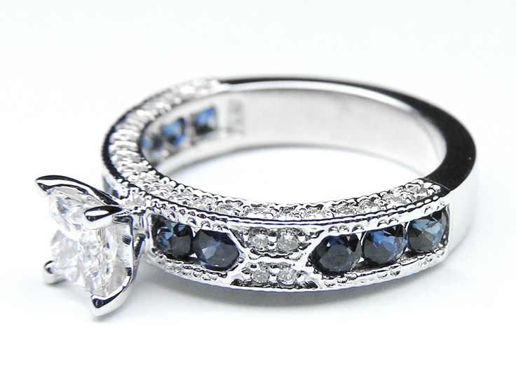 Princess Cut Diamond Vintage Engagement Ring Blue-Sapphire Accents