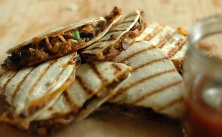 Pulled Pork Quesadillas and Carolina Red Sauce