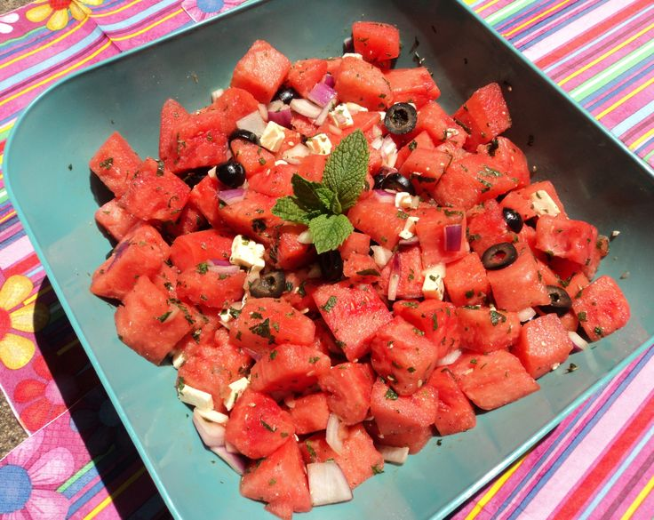 Watermelon Salad with Feta & Mint! = perfect summer BBQ side dish ...